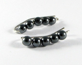 Lobe Enhancers © Sterling Silver Ear Climbers Ear Sweeps Hematite or Choice of Beads Clip Earrings Non pierced