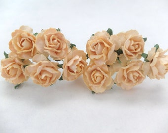 "1"" light peach mulberry roses - paper flowers - light peach paper roses"