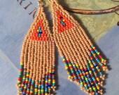 Seed Bead Earrings Long Beaded Beige Multicolored Fringe Dangle Earrings Beadwork Handmade Bohemian Tribal Jewelry