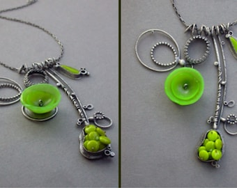 lime green necklace sculpture wearable art modern found object necklace oxidized silver multi pendant large