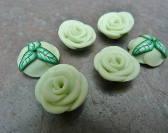 Polymer Clay Rose Beads, Polymer Clay Flowers, Canework Roses, Artisan Made Beads, Hand Made Beads, Adorned Clay Jewels, DESTASH, 6 Bead Set