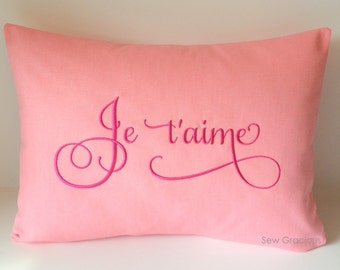 Monogram Pillow Cover 12 x 16. French I Love You. Je t'aime Love. France. Throw Pillow. Calligraphy Lettering Font. Any Color Combos