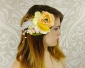 Blush Rose Hair Clip, Bridal Hair Clip, Rustic Hair Clip, Rustic Wedding, Boho Hair Clip, Boho Bridal Headpiece, Blush, Peach, Feather