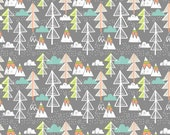 ON SALE Artic Tree Grey by Maude Asbury - Trees, Clouds, Mountains - The Snow Day Collection - Blend Fabrics - 1 -  One Yard Fabric