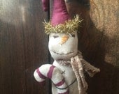 Primitive Snowman Ornie ready to ship