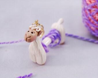 Cream White Alpaca WPI tool gauge for handspun or any yarn - Polymer Clay