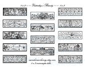 Instant Download Digital Collage Sheet Yesterday's Beauty Antique Designs Black and White 1 x 3 Microscope Tiles Dominoes Tags 14 Slides