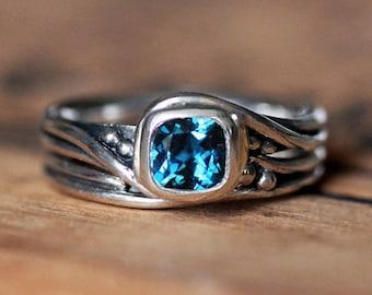 Rustic engagement ring set, alternative engagement ring, london blue topaz engagement ring, swirl ring, pirouette ring, custom made