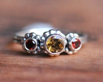 Unique mothers ring, three stone ring, mothers birthstone ring, 3 stone ring, citrine and garnet ring, crush trio, ready to ship size 7