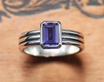 Iolite ring - modern silver ring - geometric ring - purple blue gemstone ring - emerald cut ring - modern column ring - custom made to order