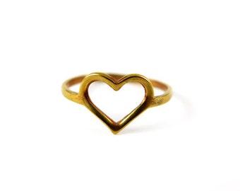 Vintage Raw Brass Heart Rings (4x) (J494)