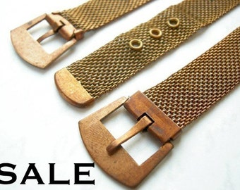 LOW Stock -2 sets left- Vintage Raw Brass Mesh Buckle Rings (Wider Ring) (6X) (J524) S A L E - 50% off
