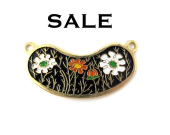 Vintage Orange and White Flowers on Black Cloisonne Enamel Pendants (4X) (E520) SALE - 50% off