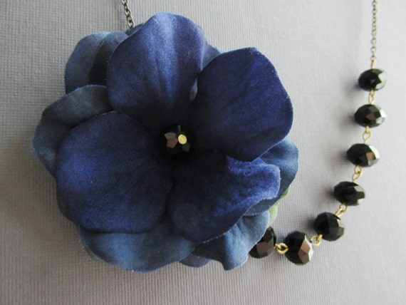 Navy Blue Fabric Floral NecklaceBlack Crystal by RachelleD on Etsy