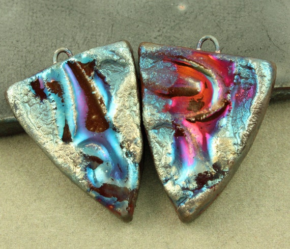 Urban Industrial Tribal Raku Earring Shield Earrings
