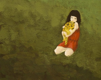 Befriending the Beast - original contemporary modern painting figurative woman and tiger