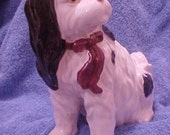 Vintage Dog - TALL - Cocker Spaniel - Figurine -  Red Bow - Spots - Perfect Condition!