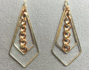 Silver and Copper Chain Maille Earrings