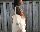 Knit Happens - Screenprinted Canvas Tote Bag for Knit or Crochet