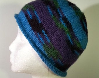Striped knit beanie in blue and purple with black and green