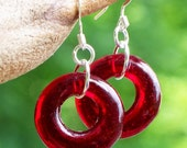Recycled World War II Ruby Beer Bottle Glass Hoop Earrings/Ruby/Hoop Earrings/Upcycled Recycled Repurposed Jewelry/Glass Bottles/Vintage/Eco