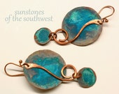 Rustic Copper Earrings with Patina