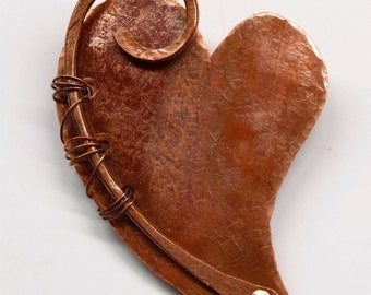 Hand Forged Rustic Copper Heart Pendant Component