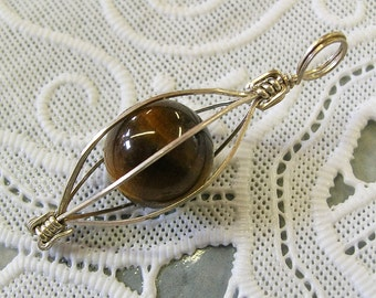 Tiger Eye Ball in Sterling Silver Cage Pendant