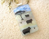 Sheep Necklace, Lamb, Dichroic Necklace, Fused Glass Necklace, Dichroic Jewelry, Fused Glass Pendant, Dichroic Jewelry - Wool 042915p116