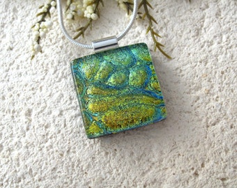 Petite Blue Green Necklace, Dichroic Glass Pendant, Dichroic Fused Glass Jewelry, Blue Green Dichroic Jewelry,  Silver Necklace  062515p101