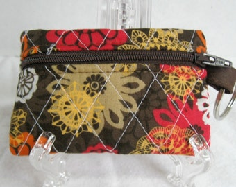 Quilted Coin Purse - Brown Orange Floral -  Change Purse with Key Chain -  Quilted Floral Pouch