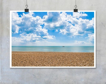Shingle beach in Kent with calm sea blue sky summer 12x8 18x12 20x30 20x16 photographic wall art home decor photo big print poster display