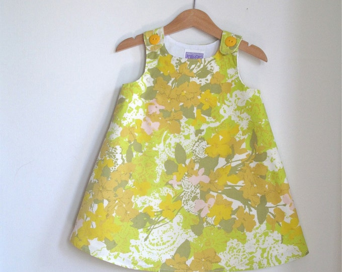 Girls Dress,  Mustard & Green Impressionist Floral Print, Toddler Dress, Girls Sundress, Girls Pinafore, Vintage Fabric Dress, Size 2T
