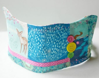 Deer Birthday Crown: Patchwork Fabric Dressup Toy for Kids Age 5 and Up