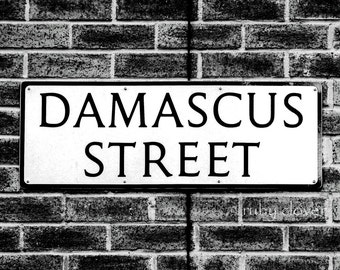 Damascus Street, Belfast, Northern Ireland, County Antrim, Ulster, Norn Iron,  Black and White Bricks, Old Street Sign, Street Photography