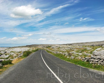 Rocky Road, The Burren, County Clare, Ireland, Coastal Drive, N67, Doolin, Irish Decor, Amazing Clouds, Deep Blue Sky, Nautical Decor, Celt