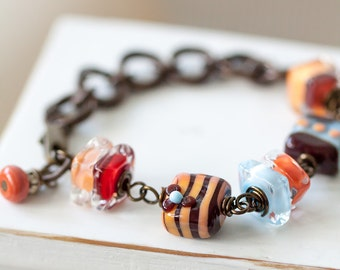 OOAK Lampwork Bracelet, Orange Brown Blue and Red Bracelet, Mother's Day Gift, BFF Gift, Birthday Gift for Her Mom Sister Aunt