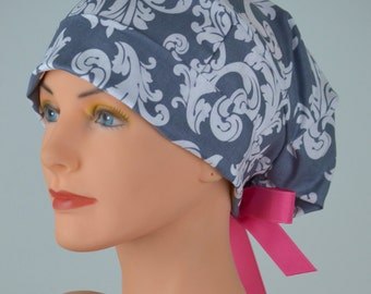 Scrub Hats // Scrub Caps // Scrub Hats for Women // The Hat Cottage // Small // Ribbon Ties // Gray Damask