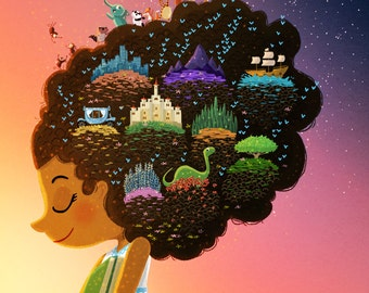 "Book Lover Art, Reading Rainbow, Reading Illustration, Library Art Print - ""Book Dream Believer"""