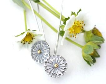 Shasta Daisy Earrings,  Silver 18K Gold Earrings