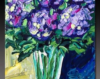 B. Sasik Original Oil Painting  Garden ART HYDRANGEAS Painting