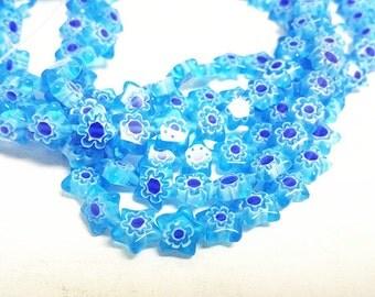 1 strand 10mm star shape Millefiori Glass Beads(approx 45 pc)-9802