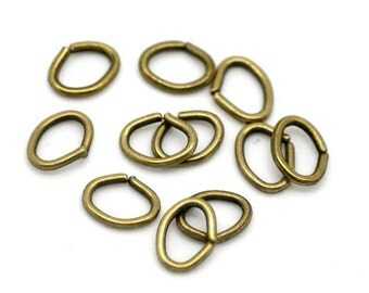 100pc 10x7mm antique bronze oval jump rings-2521F