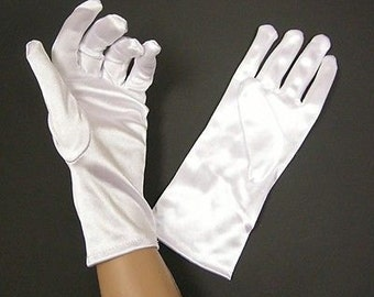 1 Pair Short White Gloves -One size fits most-7076