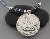 Fine Silver Sailboat Iolite Freshwater Pearl Necklace