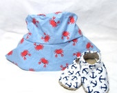 Crab Sunhat with SPF50+ Lining Fabric and Velcro Straps 7 SIZES!