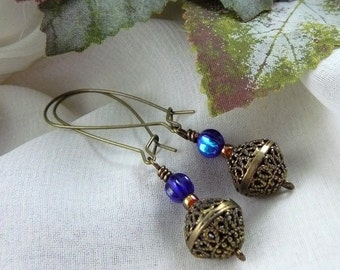 Filigree Bead Earrings ~ Antique Brass Filigree Earrings ~ Filigree Dangle Earrings ~ Kidney Wire Earrings ~ Antique Brass Earrings ~