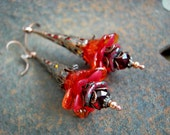Fire Wands, Red & Orange Elven Wand Earrings, Elksong Jewelry, Blazing Colors, Faery Couture, Dramatic Earrings, Colorful Boho