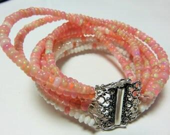 Mutli Strands Bracelet-Superfine Mystic Silverite Beads,Pink Ethiopian Opal Smooth Rondelle Beads Bracelet