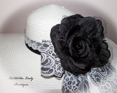 Monogrammed Shabby Cottage Chic Floppy Hat Black & White Lace Bridal Bride Wedding Derby Cup Race Custom sewn ribbons . OOAK NEW ITEM!